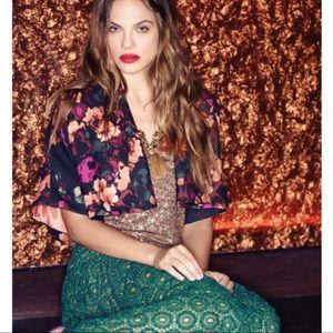 Anthro Tabitha Mikura floral cropped bolero jacket